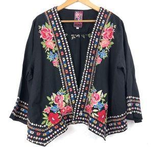 JWLA Floral Embroidered Linen Kimono Cardigan L